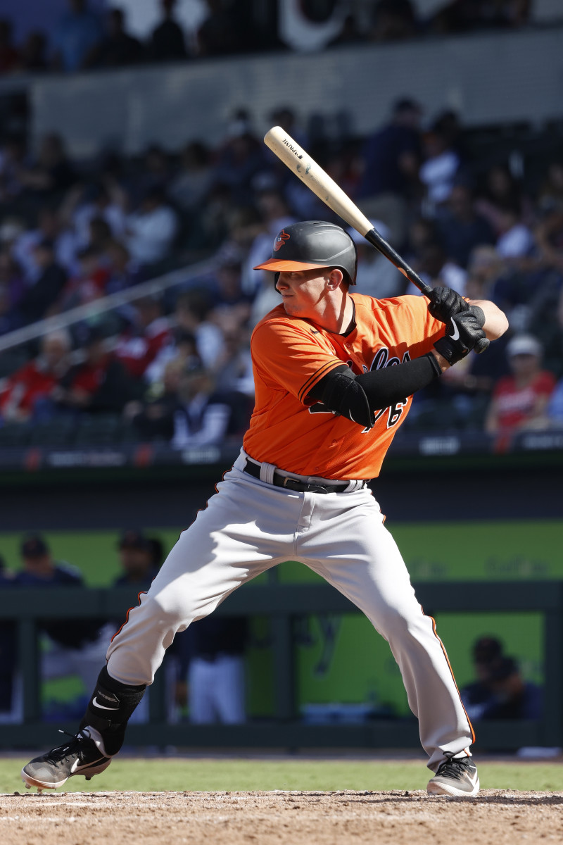 Adley Rutschman of the Baltimore Orioles bats during a Grapefruit League in February. Photo: Joe Robbins/Getty Images