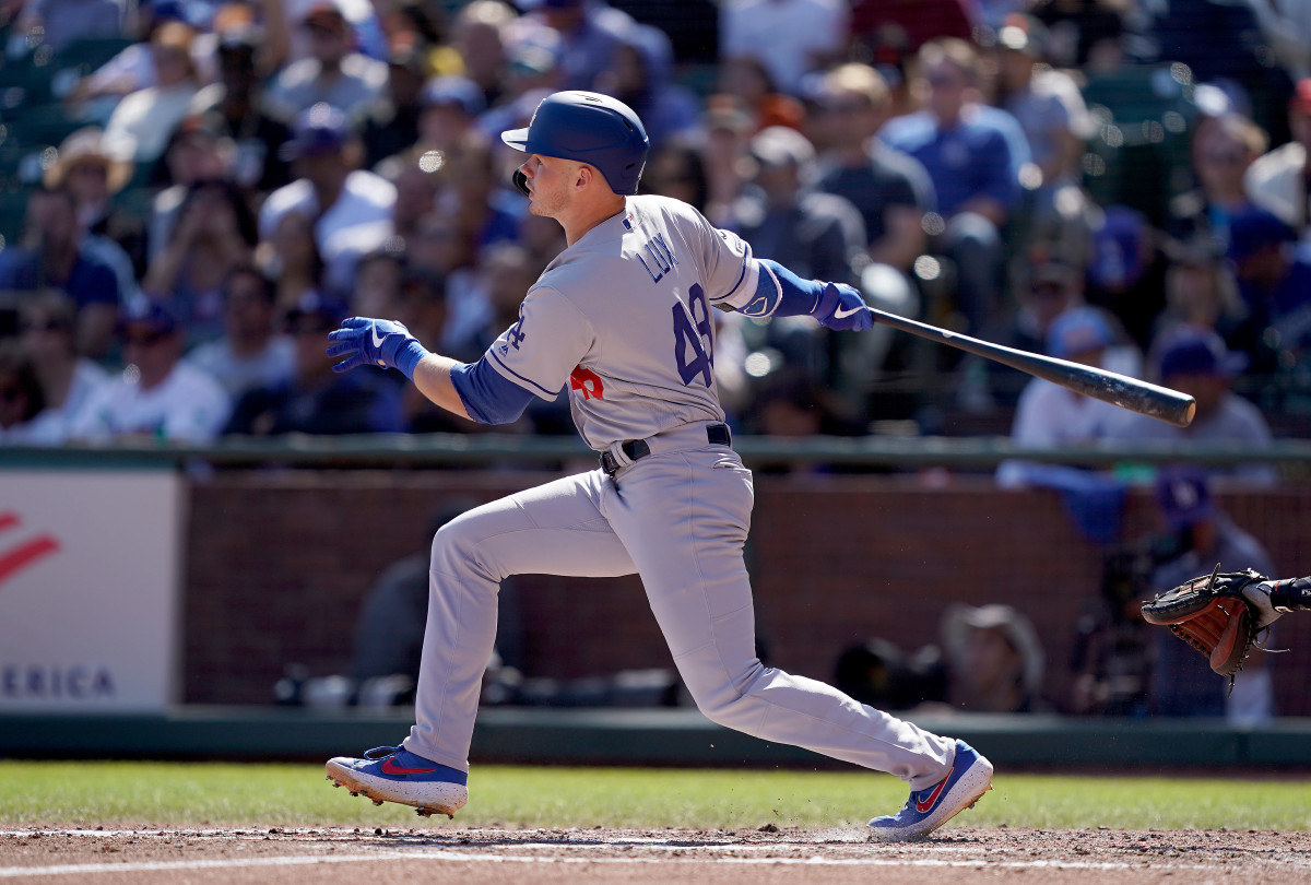 Gavin Lux of the Los Angeles Dodgers batting against the Giants last September. Photo: Thearon W. Henderson/Getty Images