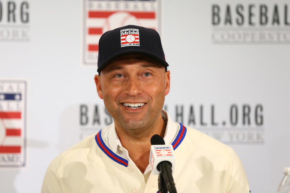 Jeter talking to the media in New York after being elected into the National Baseball Hall of Fame Class of 2020 on January 22. Photo: Mike Stobe/Getty Images