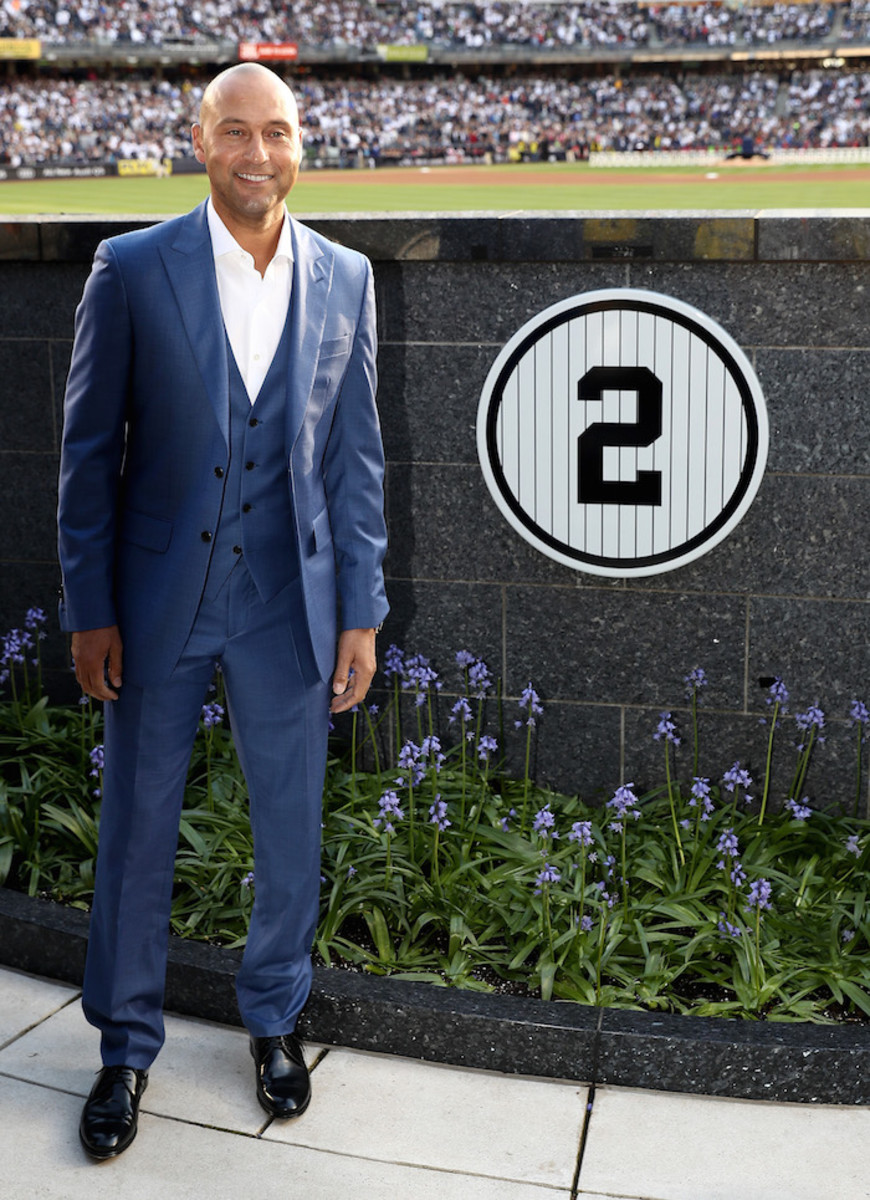 Jeter poses in Monument Park during the retirement ceremony of Jeter's jersey No. 2 at Yankee Stadium on May 14, 2017. Photo by Elsa/Getty Images