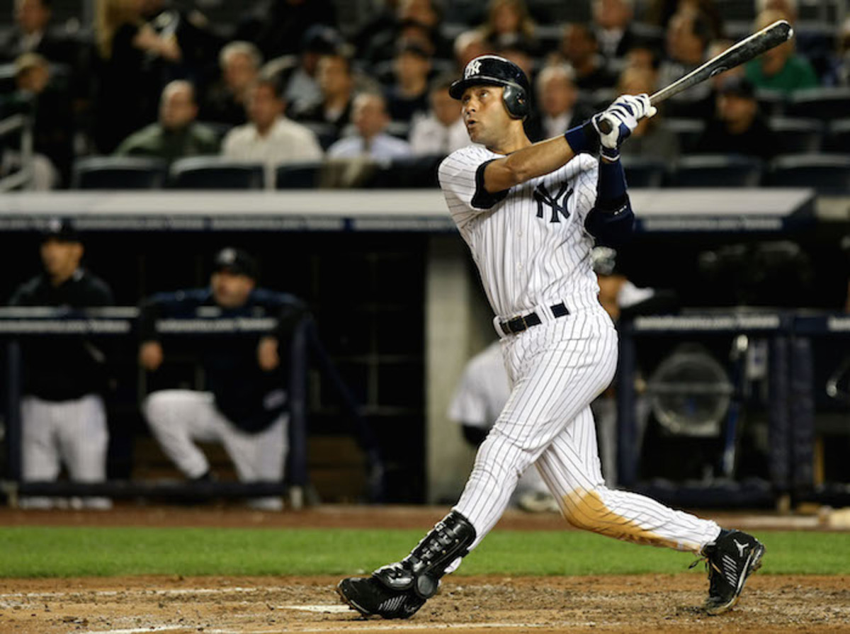 Jeter hits a two-run homer against the Twins in the 2009 ALDS at Yankee Stadium. Photo: Nick Laham/Getty Images
