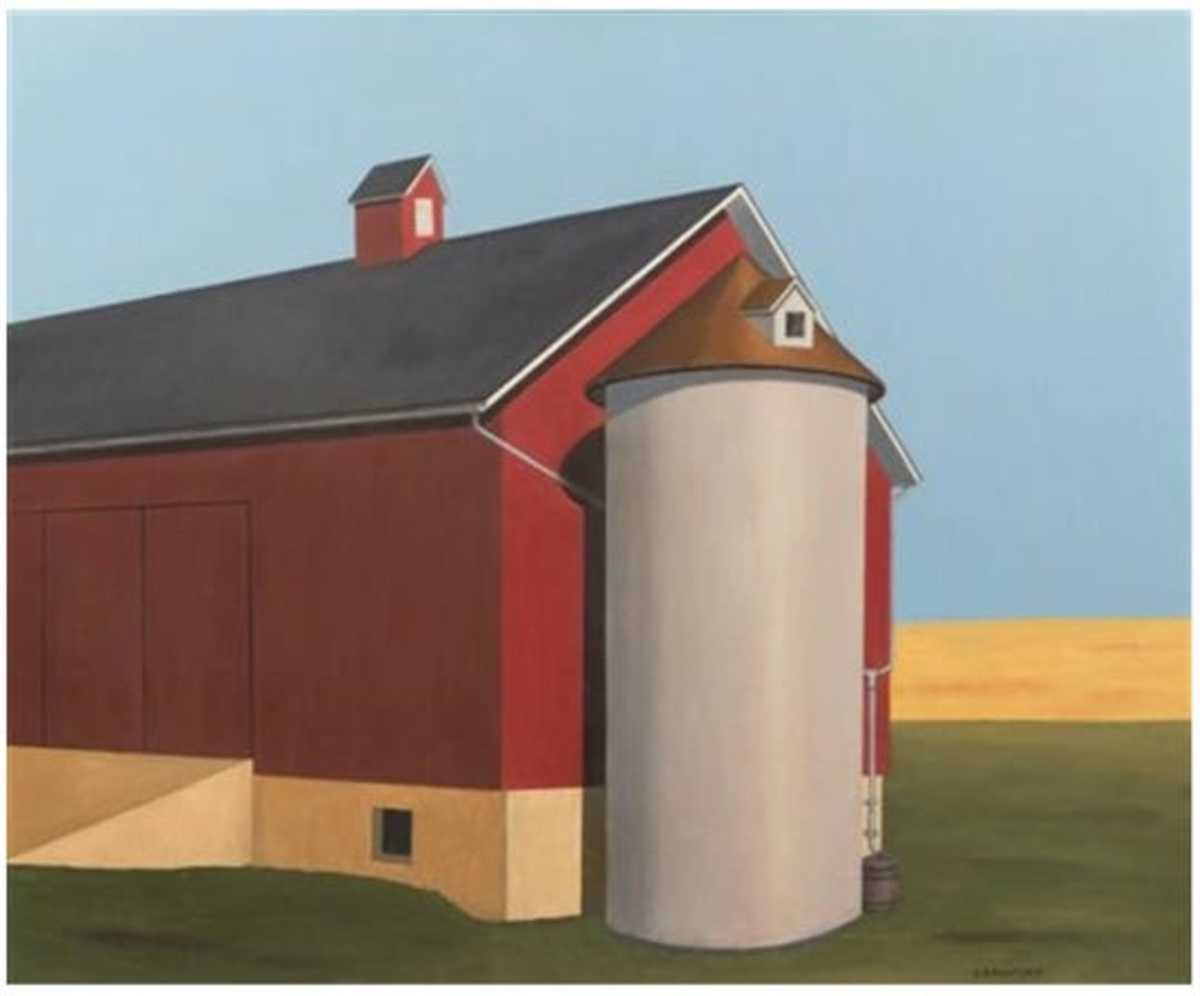 "D.B. Henkel is said to have received $299,000 from the sale of ""Smith Silo,"" purported to have been painted by artist Ralston Crawford. Photo courtesy of Leslie Hindman Auctioneers."