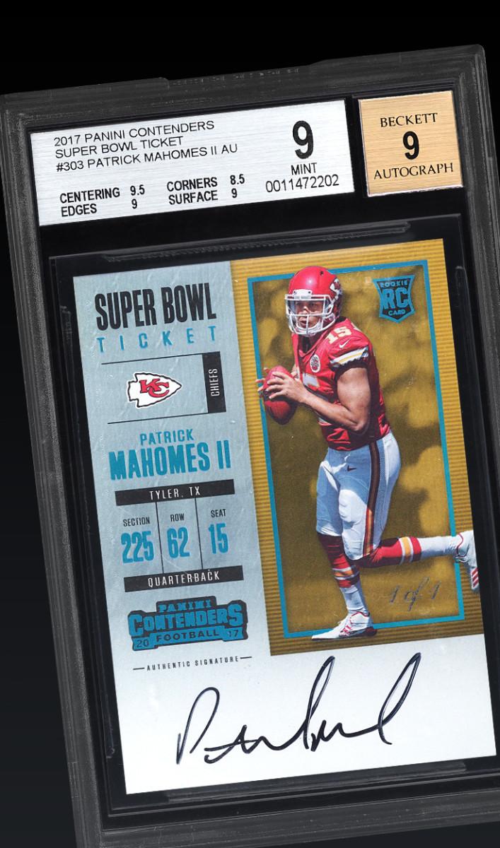 2017 Patrick Mahomes Panini Contenders Super Bowl Ticket card.