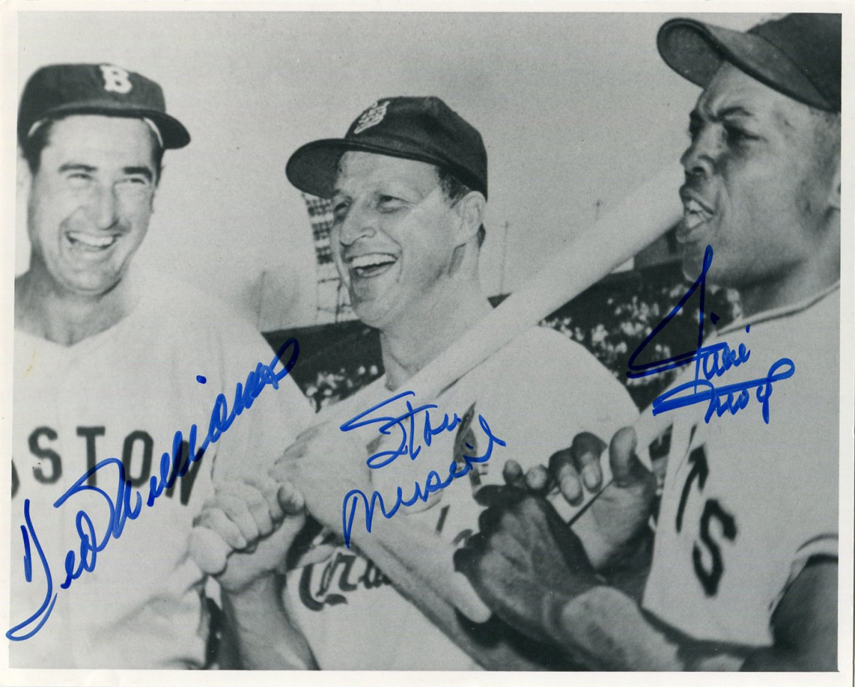 A rare photo signed by Ted Williams, Stan Musial and Willie Mays highlights the October Collectible Classics auction.