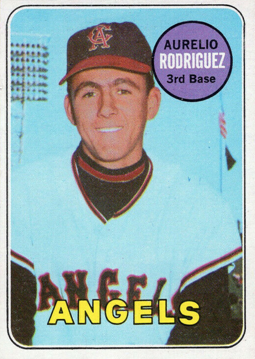 A 1969 Topps Aurelio Rodriguez card, which actually features a photo of Angels batboy Leonard Garcia.