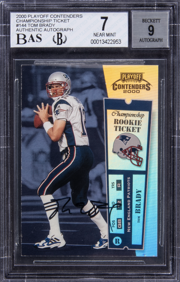 Tom Brady 2000 Playoff Contenders Championship Ticket rookie card.