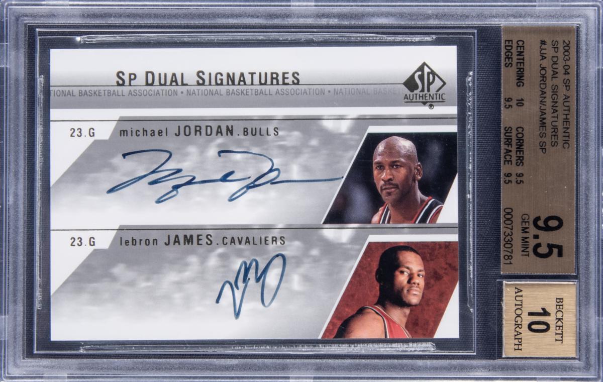 A Michael Jordan-LeBron James SP Authentic dual-signed card.