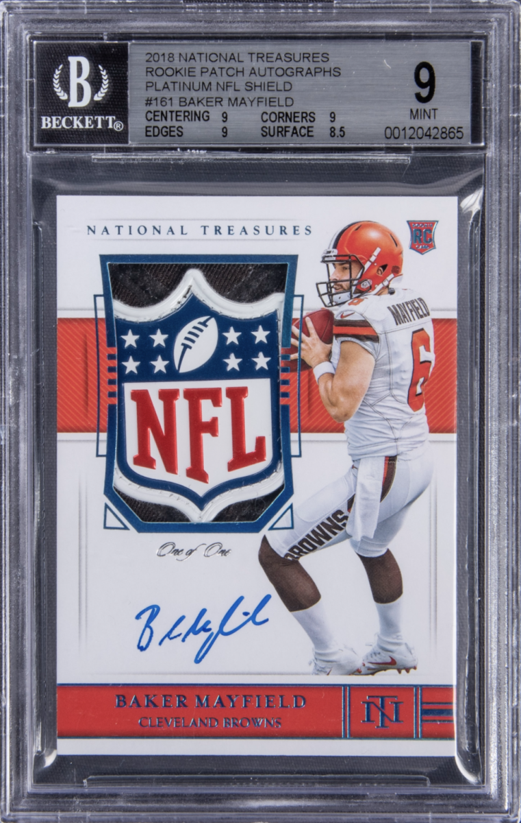2018 National Treasures Baker Mayfield rookie patch auto card.
