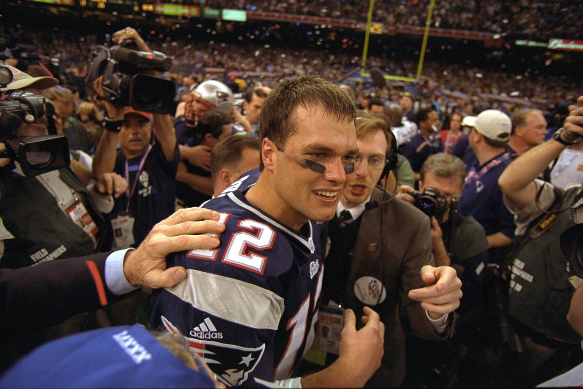 Tom Brady celebrates the Patriots' win in Super Bowl XXXVI in February 2002.