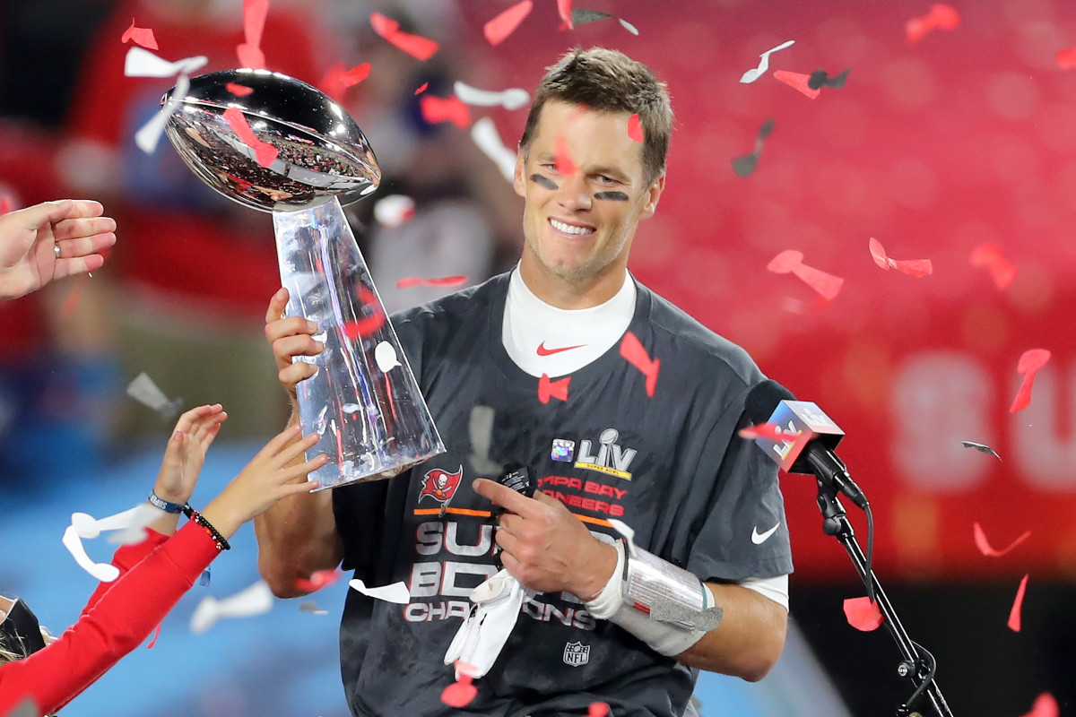 Tom Brady celebrates his seventh championship after leading the Tampa Bay Buccaneers to the Super Bowl LV title in February 2021.