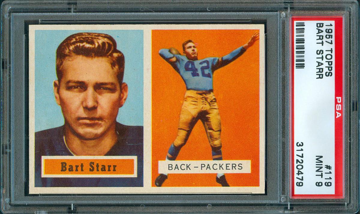 A 1957 Topps Bart Starr card.