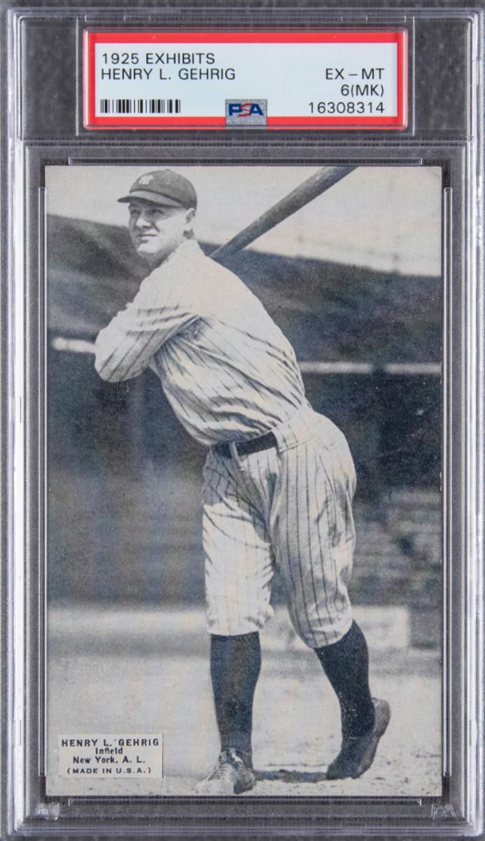 A 1925 Exhibits Lou Gehrig card.