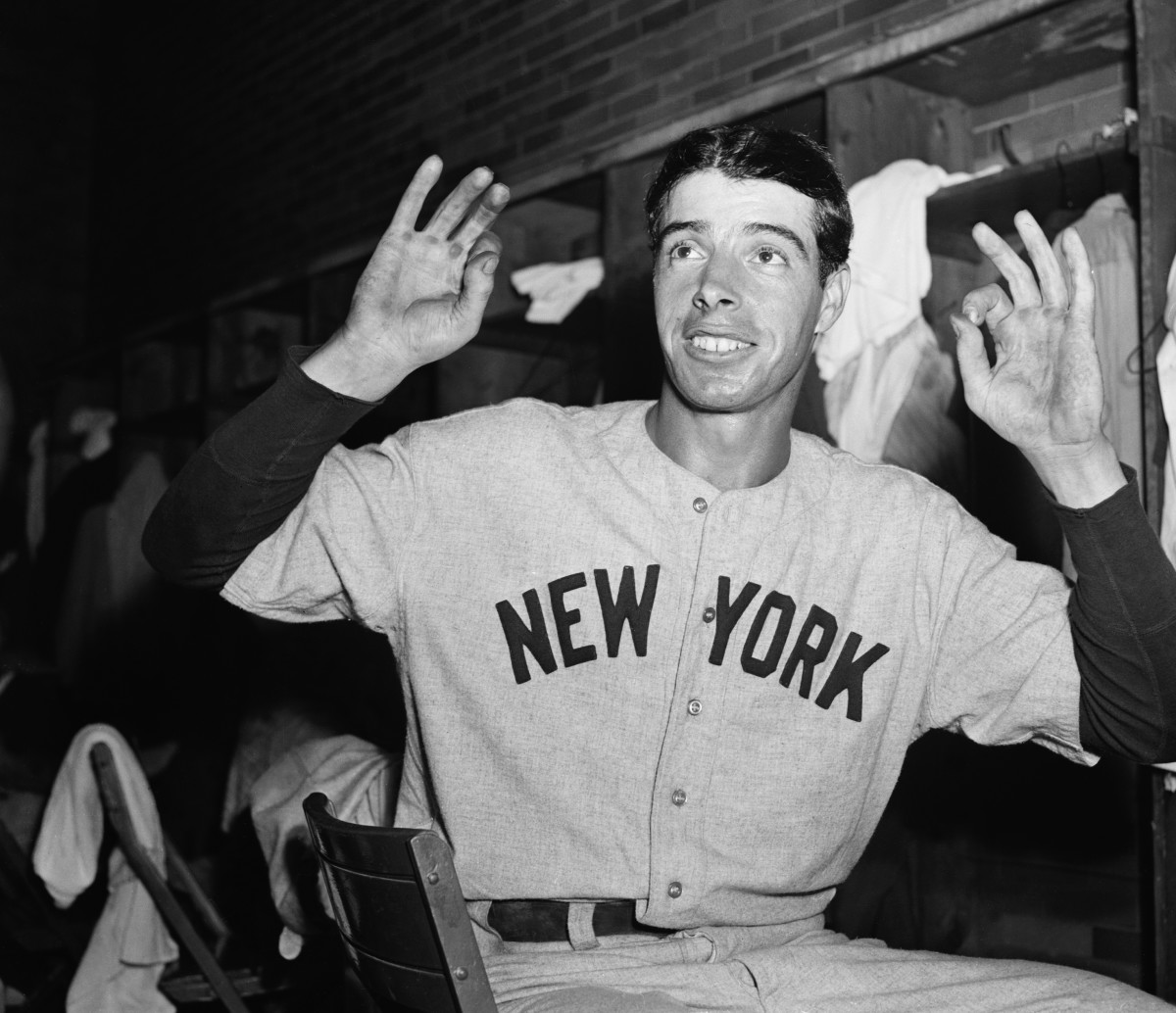 Joe DiMaggio, shown during his 56-game hitting streak in 1941, was one of the game's most popular players.