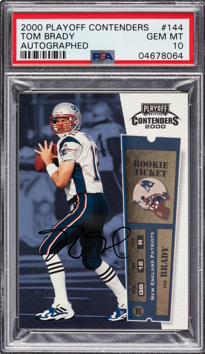 2000 Playoff Contenders Tom Brady card.