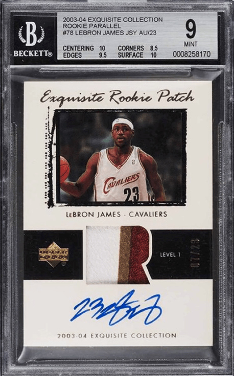 2003-04 LeBron James Exquisite Collection rookie patch card.