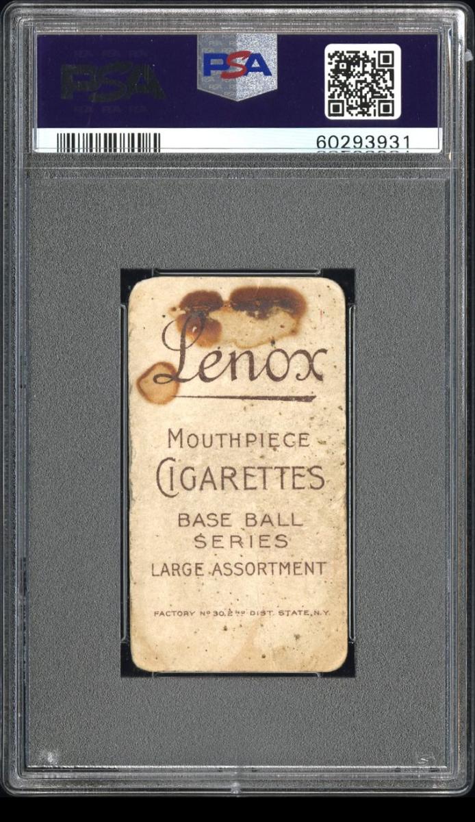 Back of a T206 Lenox Brown Hughie Jennings card.
