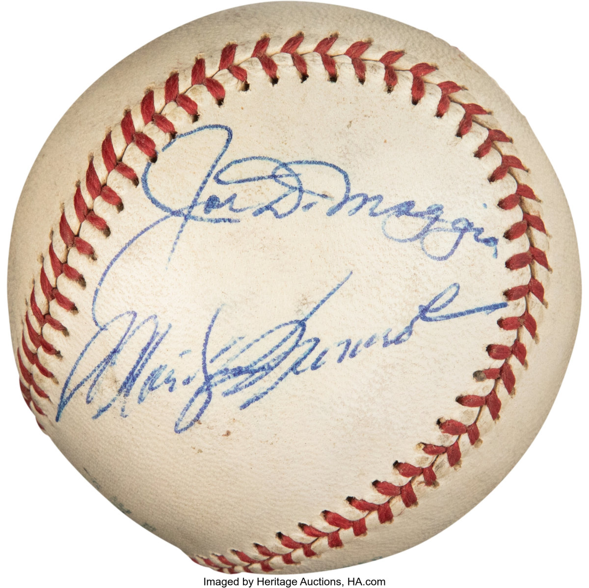 This dual-signed ball from Joe DiMaggio and Marilyn Monroe sold for $384,000 at Heritage Auctions.