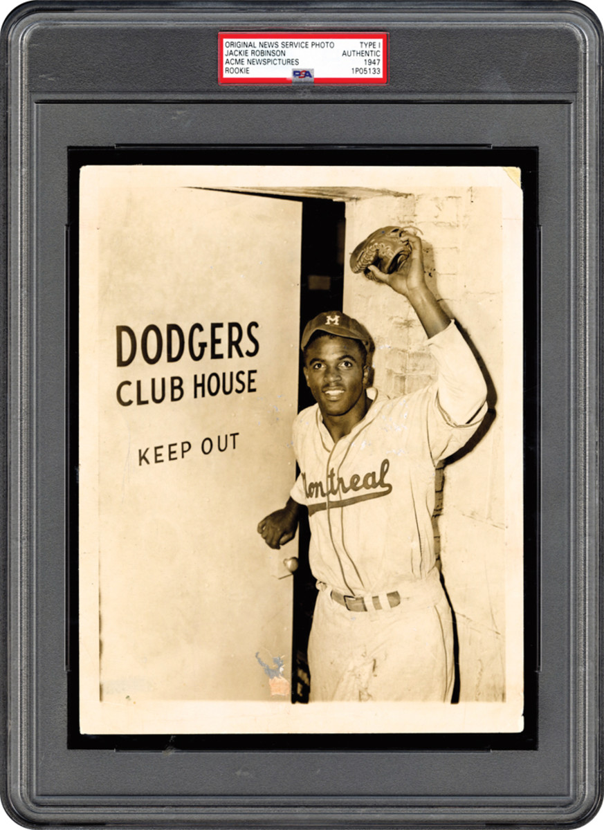 This 1947 photo of Jackie Robinson sold for $46,111 at Memory Lane Inc.