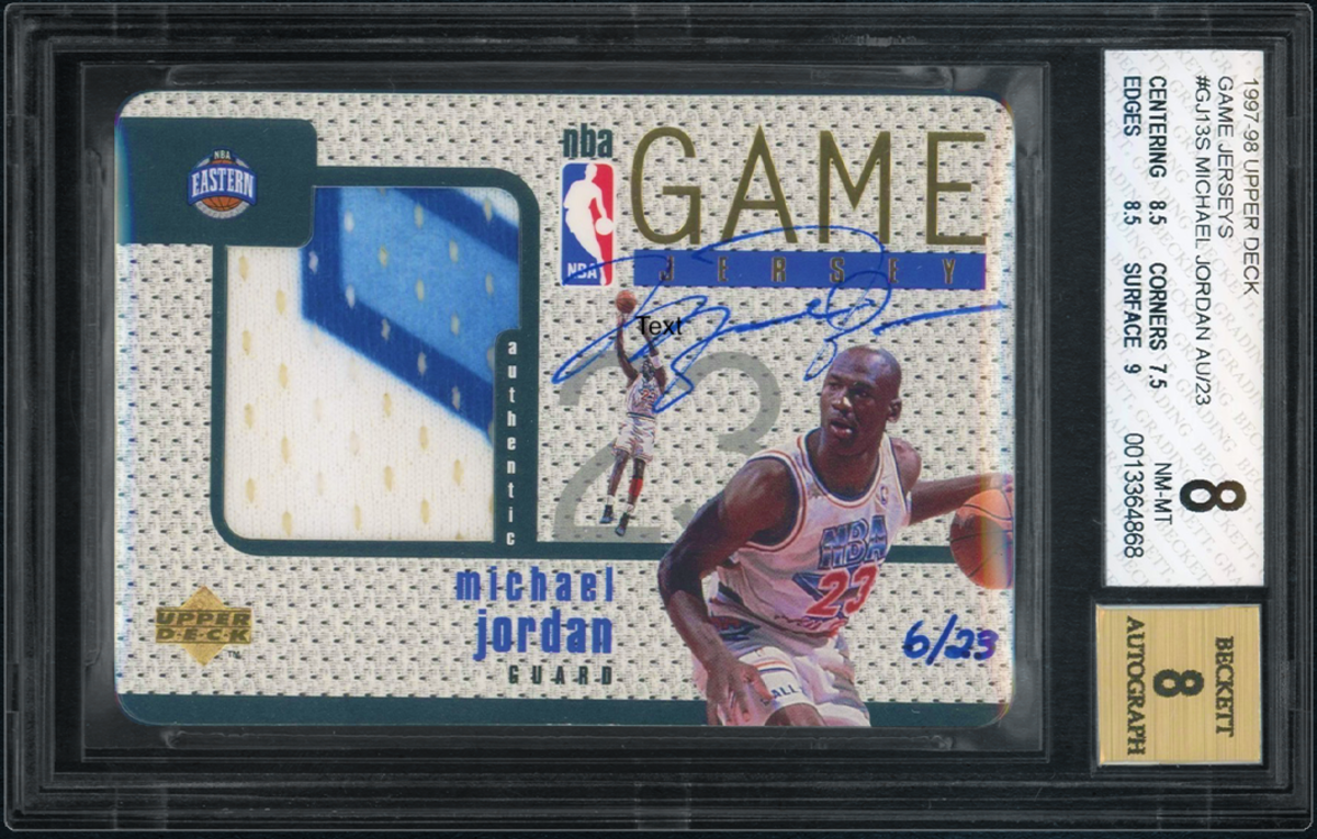 A 1997-98 Upper Deck auto patch card of Michael Jordan.