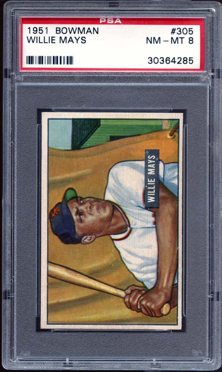 A 1951 Bowman Willie Mays card sold by the Mile High Card Company.
