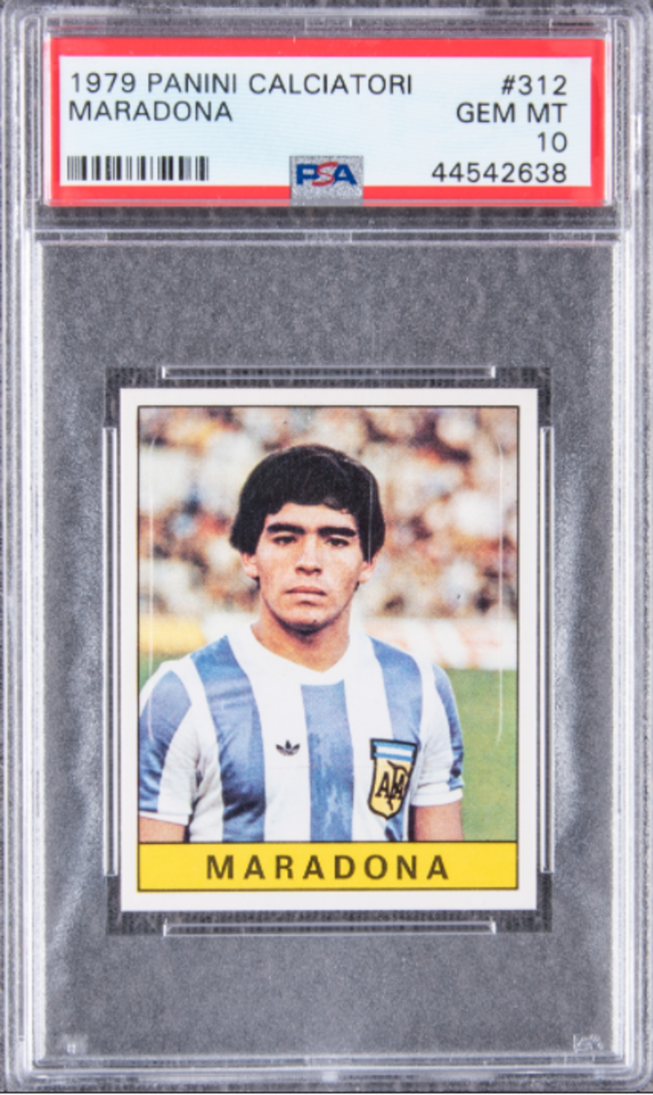 A 1979 Diego Maradona rookie card set a record as the highest-selling soccer card.