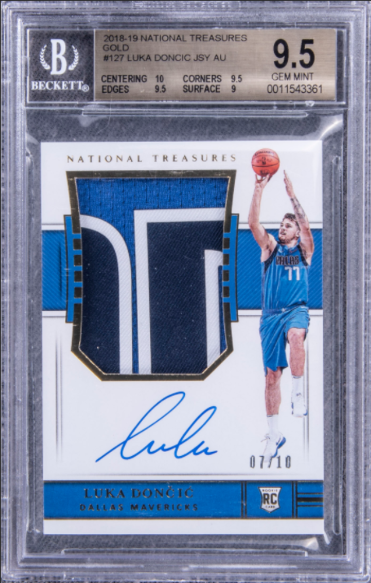 This 2018-19 Panini National Treasures Card set another record for Luka Doncic cards.