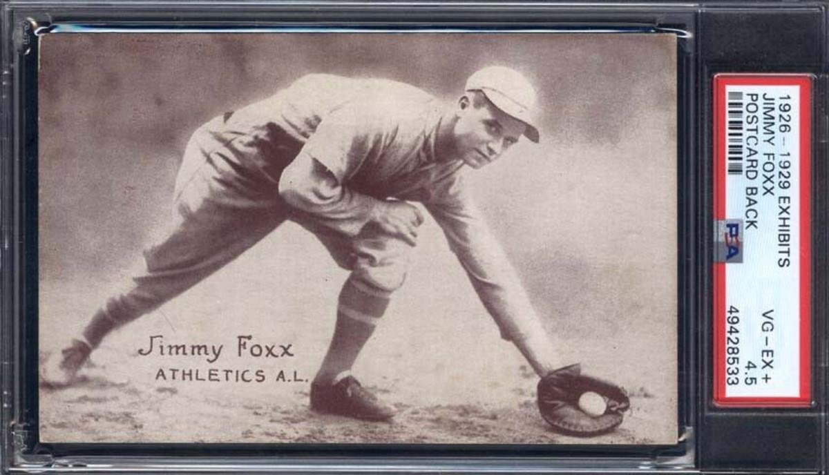 A 1926 Exhibits Jimmy Foxx card.