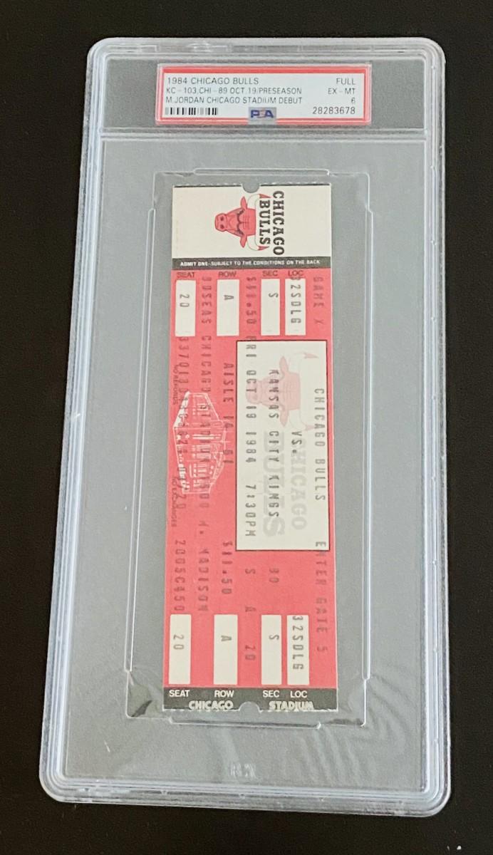 Ticket form Michael Jordan's first preseason game in 1984.