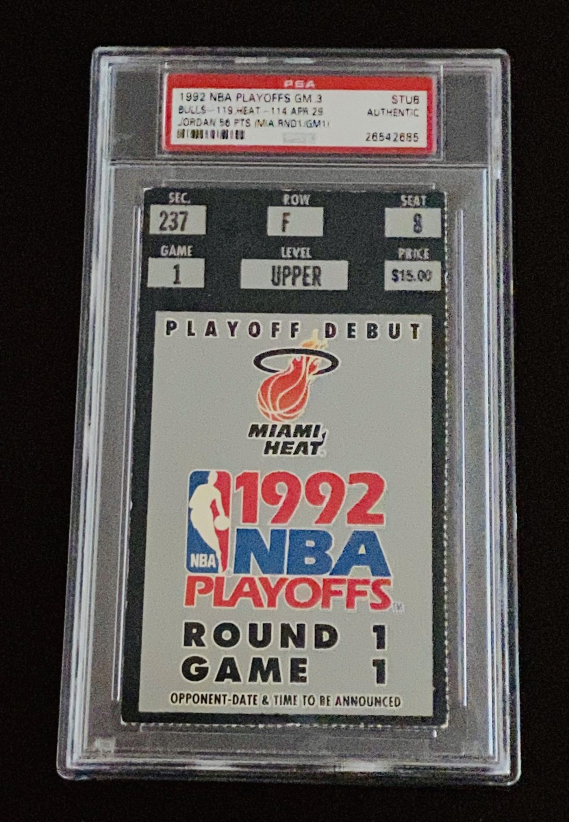 1992 NBA Playoff ticket for Game 3 between the Bulls and Heat.