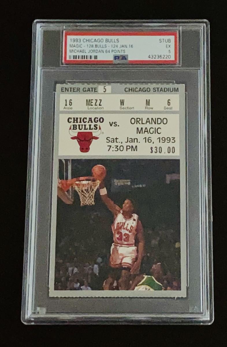 Michael Jordan ticket from 1993 game vs. Orlando Magic.
