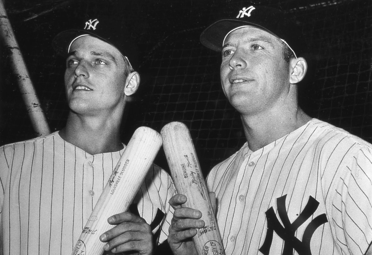 Roger Maris and Mickey Mantle at Yankee Stadium during their 1961 home run chase.