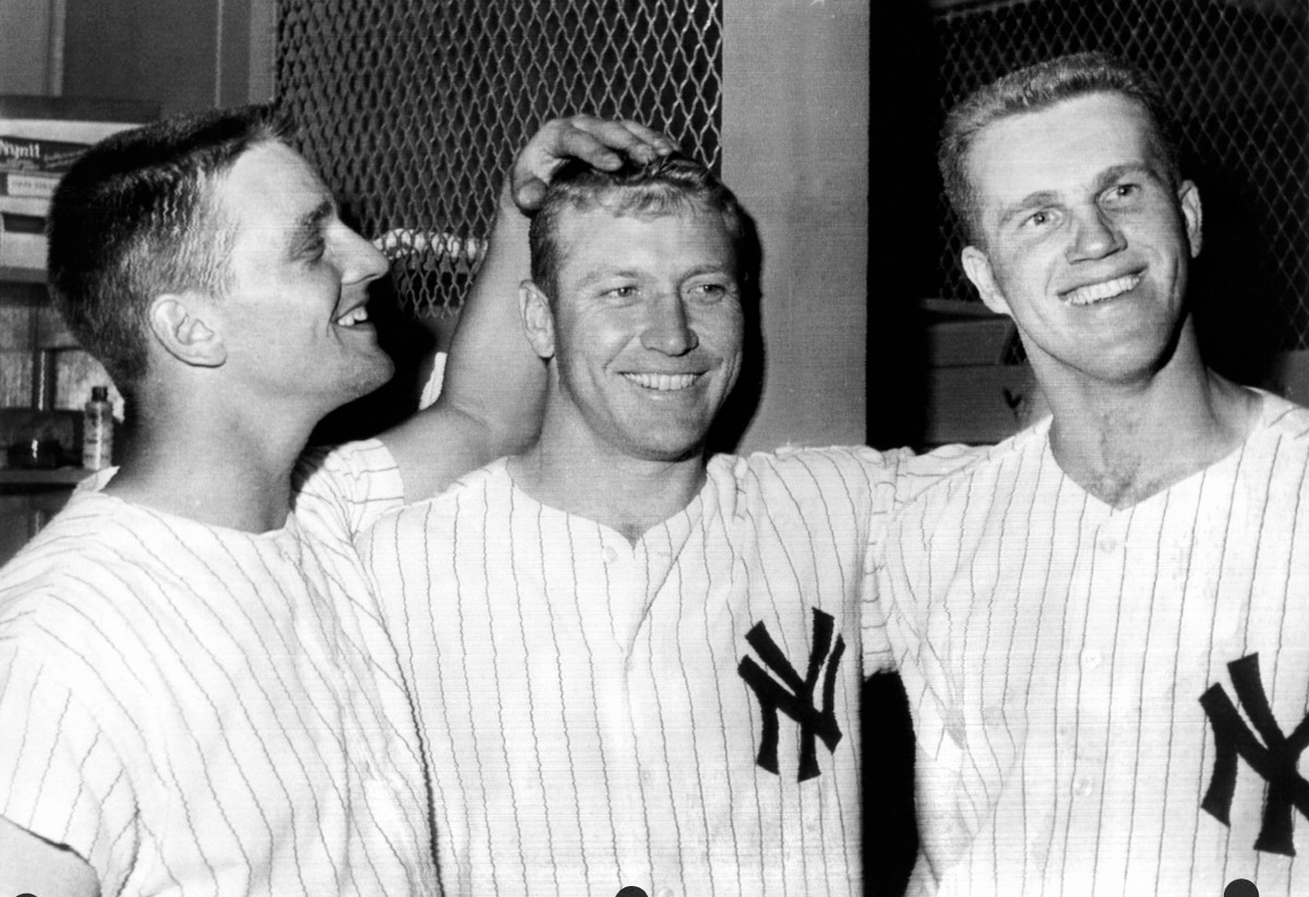 Roger Maris (left) with Mickey Mantle and Tony Kubek at Yankee Stadium in 1961.