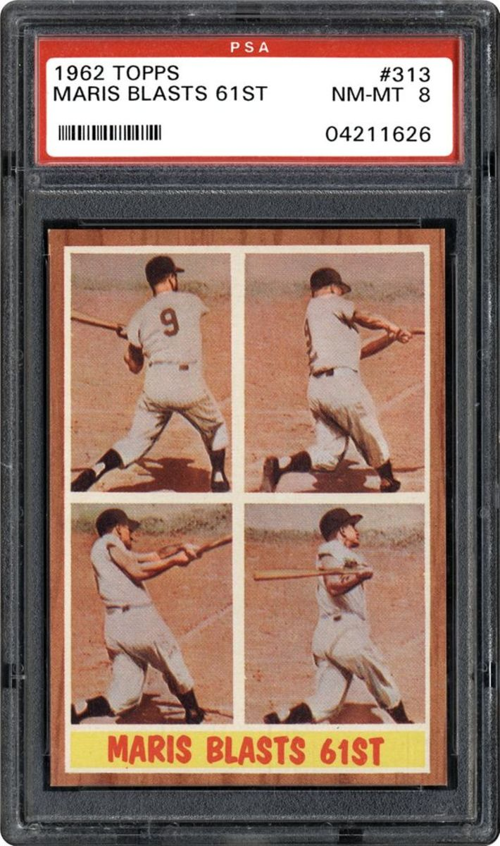 A 1962 Topps card celebrating Roger Maris' 1961 home run record.