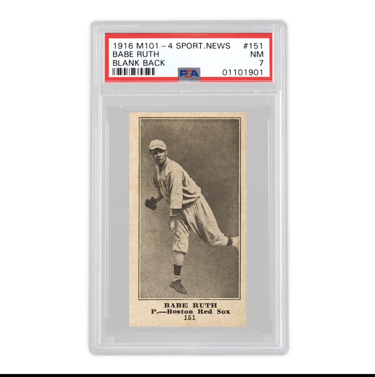 1916 M101-4 Sporting News Babe Ruth card available to investors at Collectable.