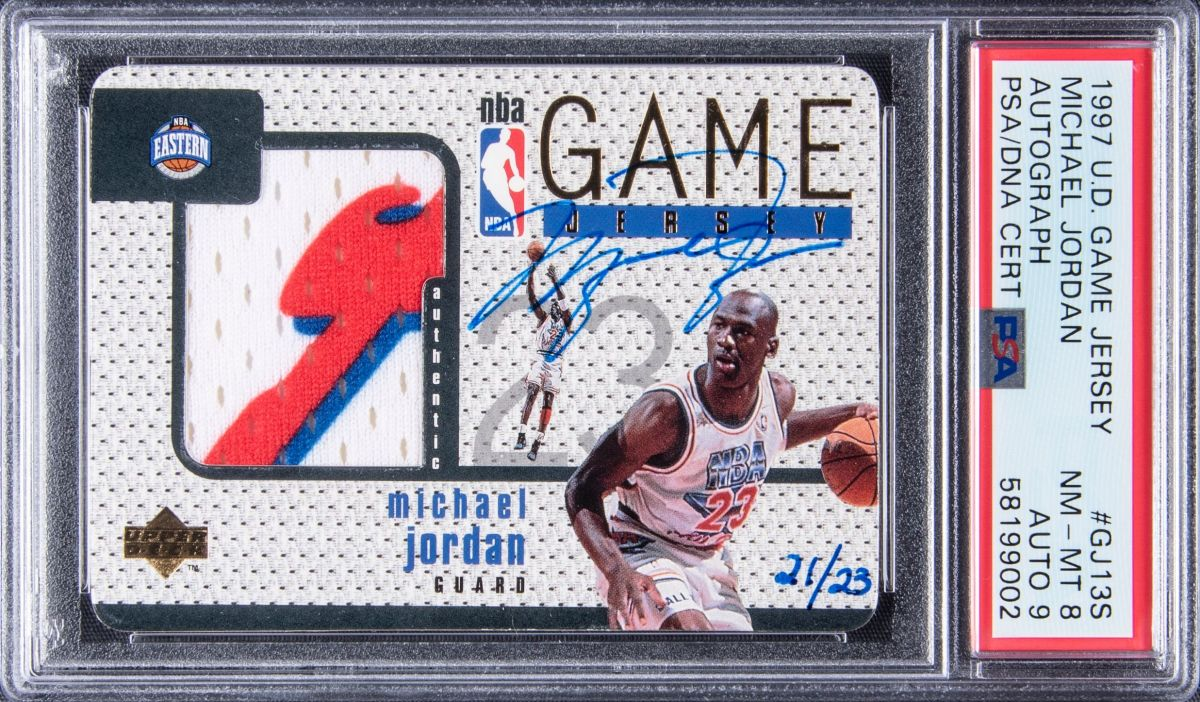 A 1997 Game Jersey Autograph card of Michael Jordan being sold by Goldin Auctions.