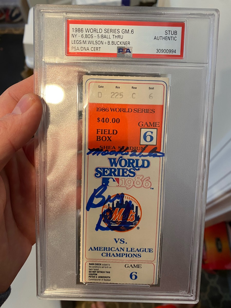 A ticket to Game 6 of the 1986 World Series signed by Mookie Wilson and Bill Buckner.