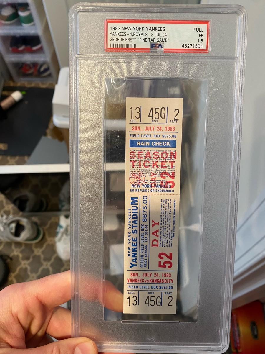 "Ticket from 1983 George Brett ""Pine Tar Game"" vs. the New York Yankees."