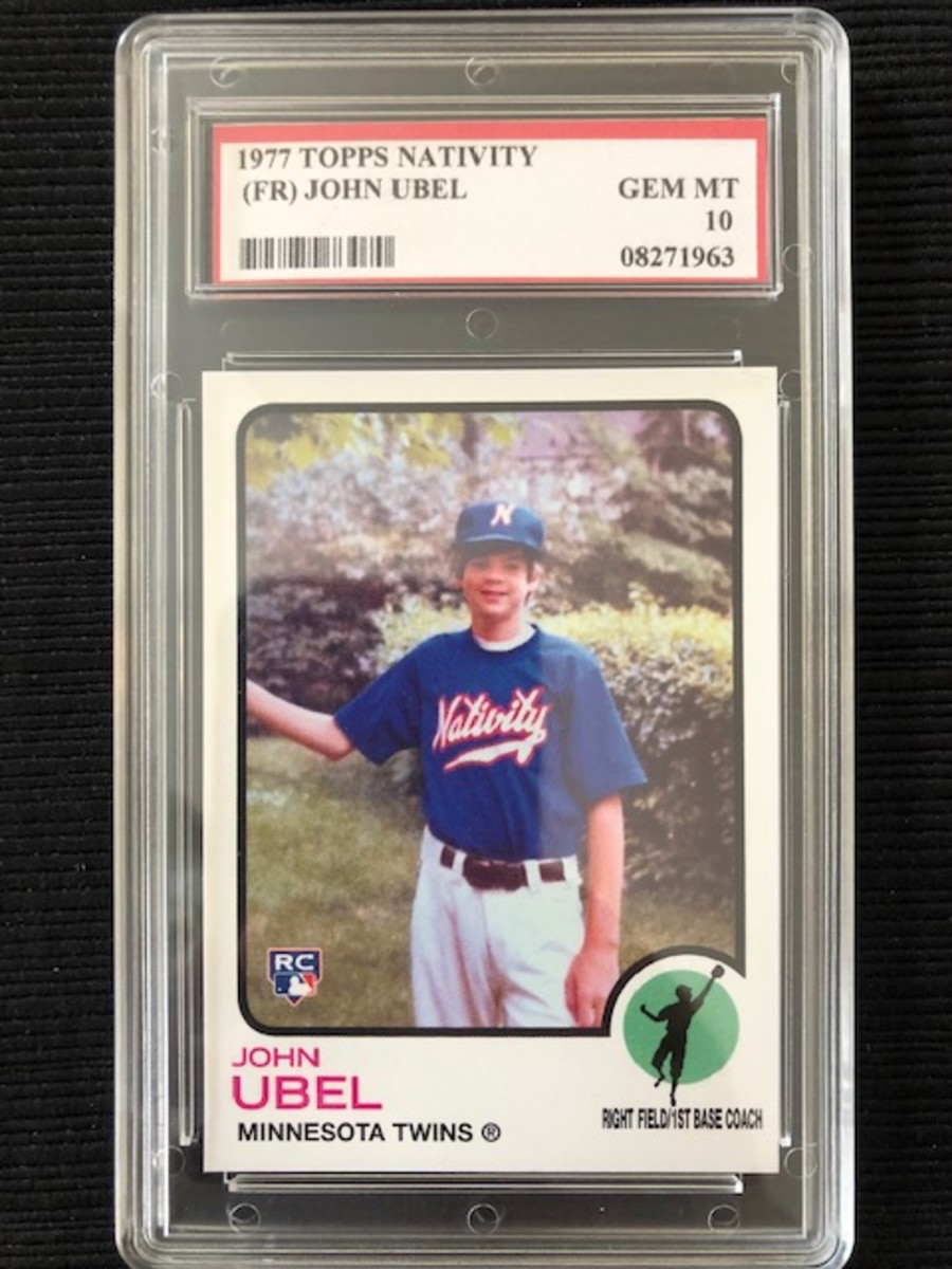 Father John Ubel card featuring himself as a kid in 1977.