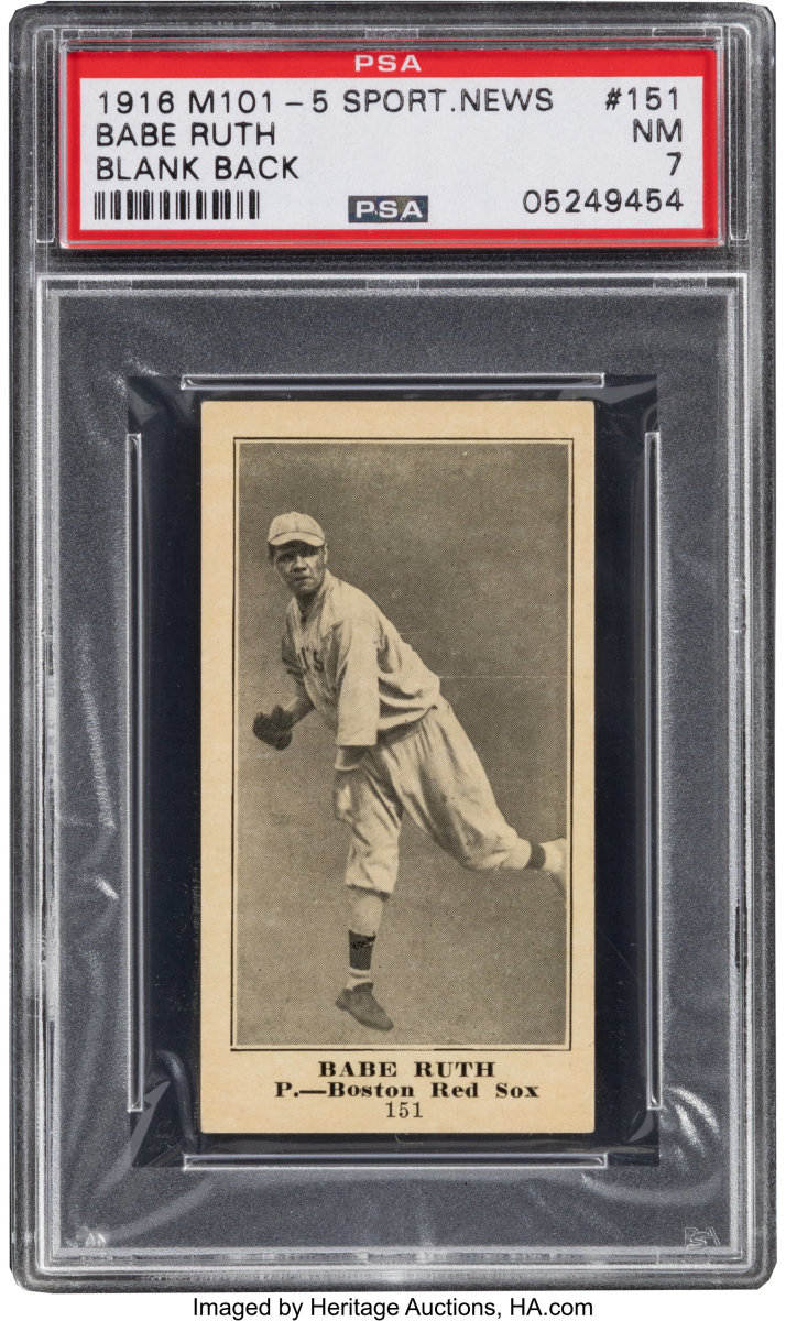 A 1916 M101 Sporting News Babe Ruth card, graded NM 7, being auctioned by Heritage Auctions.