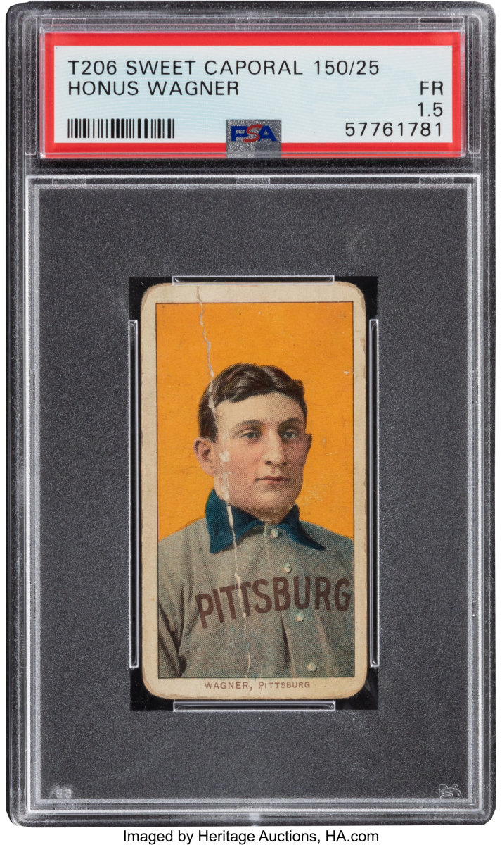 T206 Sweet Caporal Honus Wagner card being auctioned by Heritage Auctions.