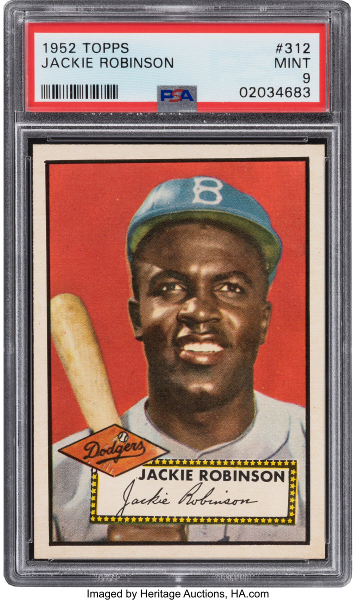 A 1952 Topps Jackie Robinson card sold for $960,000 at Heritage Auctions.