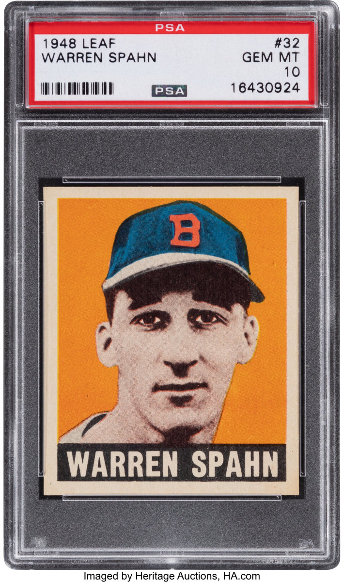 A 1948 Leaf Warren Spahn sold for $252,000 at Heritage Auctions.