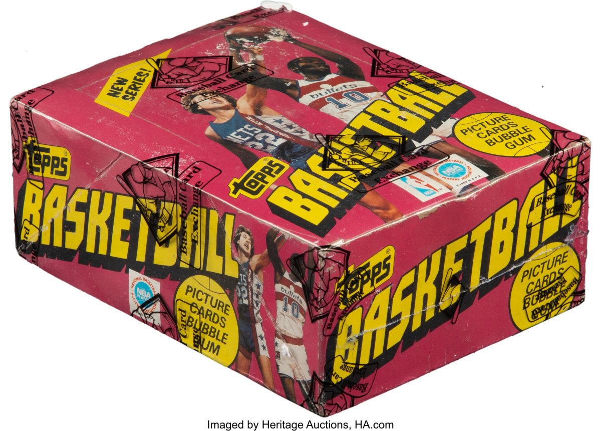 An unopened box of 1981 Topps Basketball wax packs is up for bid at Heritage Auctions.