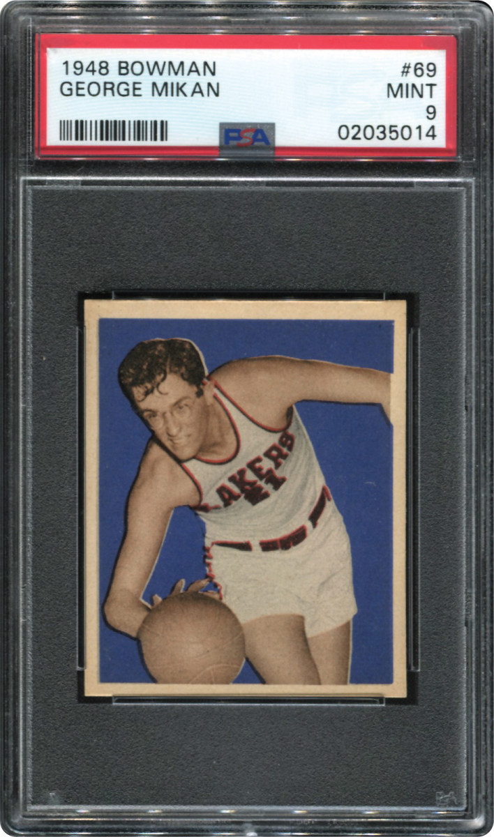 A 1948 Bowman George Mikan, graded Mint 9, is part of the Thomas Newman Collection.