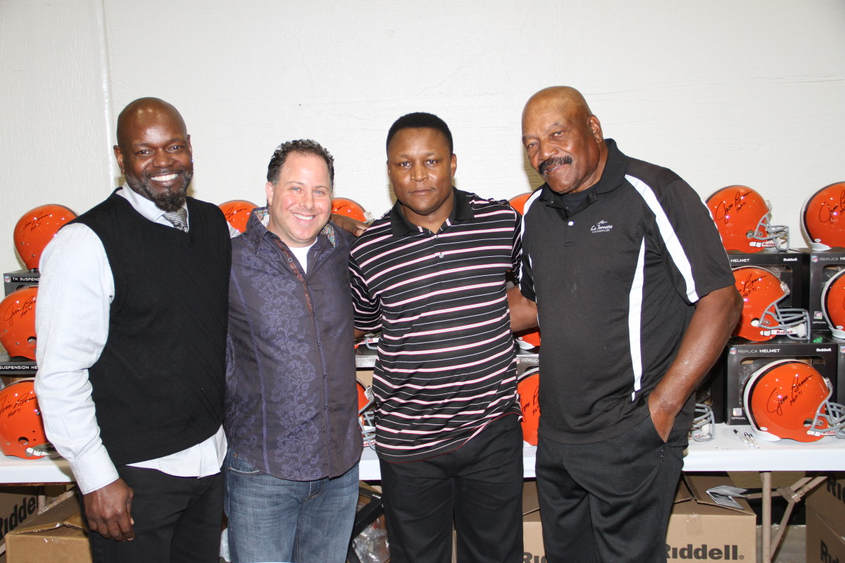 (From left) Emmitt Smith with Tristar President Jeff Rosenberg, Barry Sanders and Jim Brown.