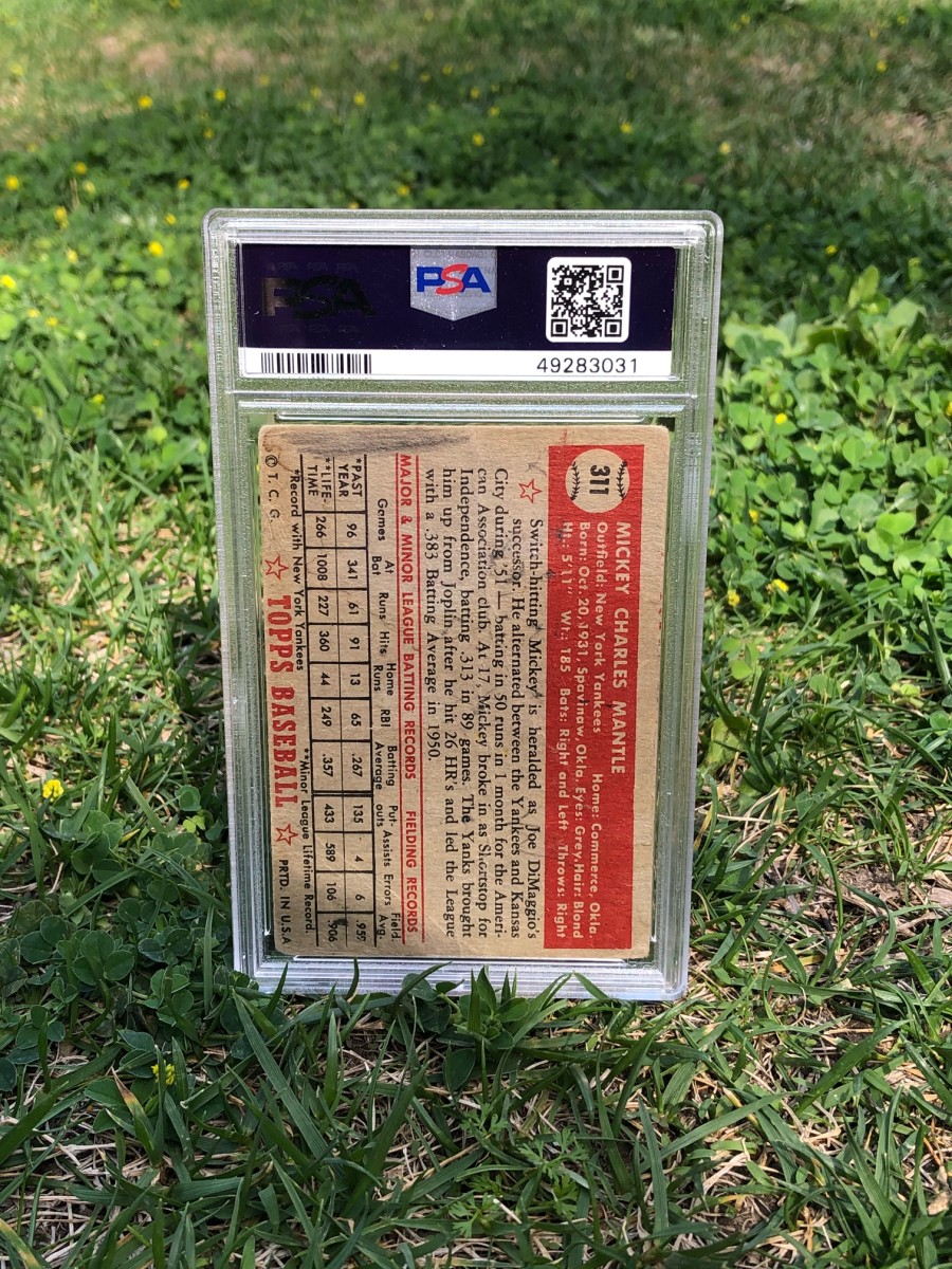 The back of a 1952 Mickey Mantle rookie card found in a Mennonite barn in Canada.
