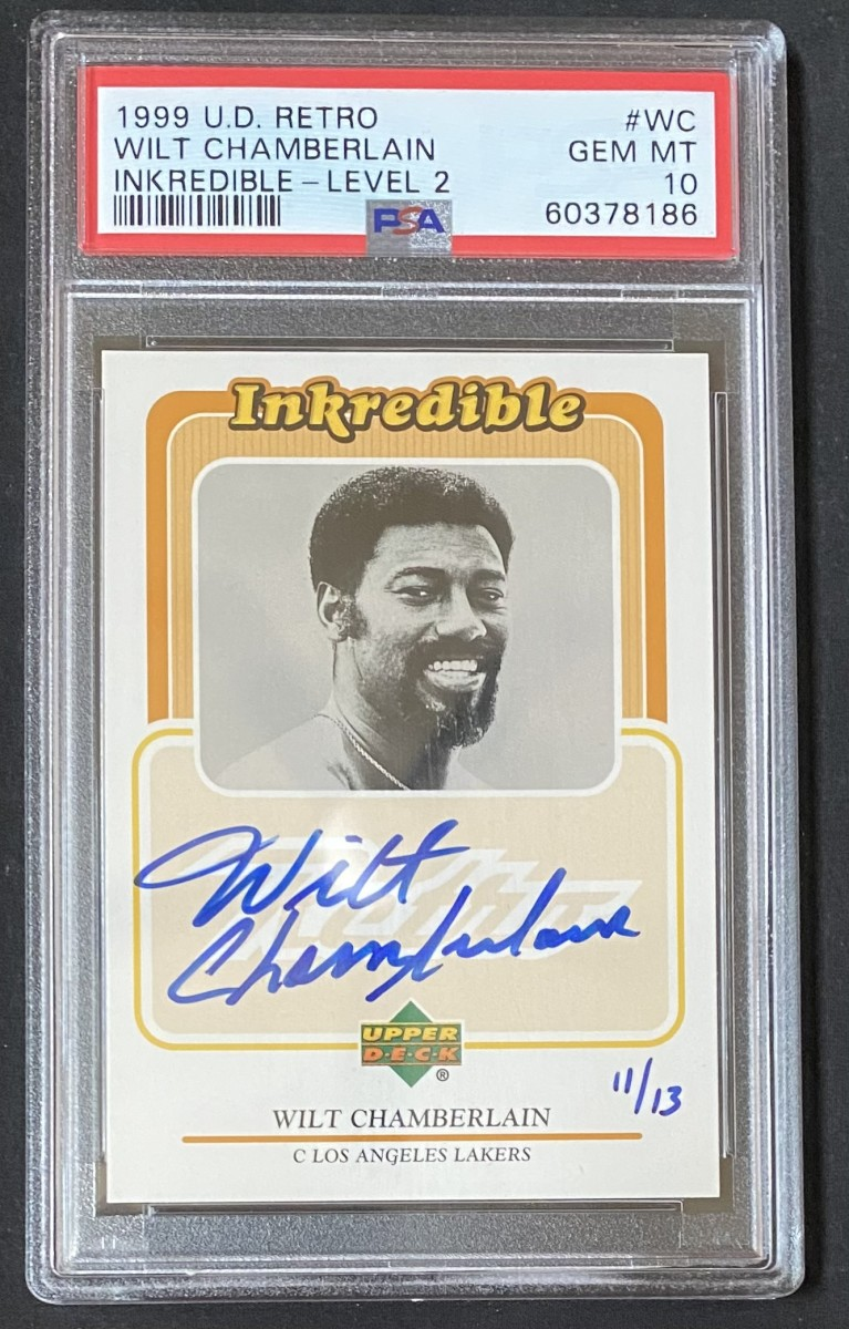 And Inkredible Ink Wilt Chamberlain autographed card from the 1999 Upper Deck Retro set.