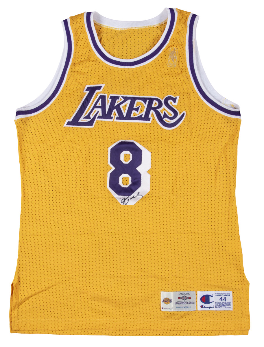 A Kobe Bryant game-worn rookie jersey sold for $3.69 million at Goldin Auctions.