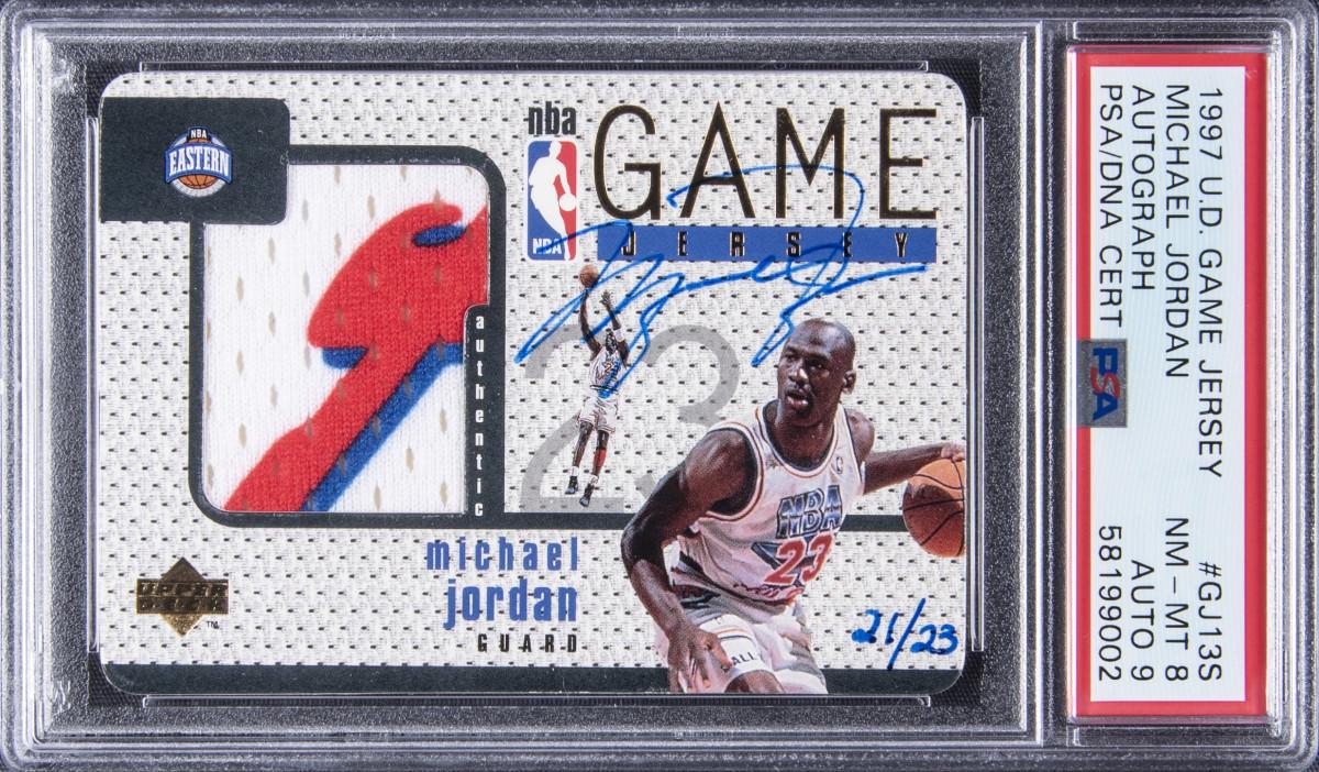 A 1997 Michael Jordan autograph card patch card sold for $2.1 million at Goldin Auctions.