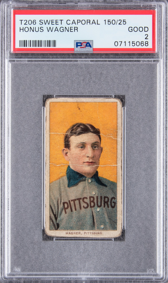 """A T206 Honus Wagner Sweet Caporal card set a new record for the """"Holy Grail"""" card at $3.75 million during Goldin Auctions' May Elite auction."""